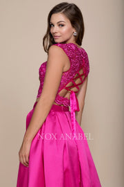 2-Piece Fuchsia Lace Up Back Formal Prom Dress - Chicago Bridal Store Company