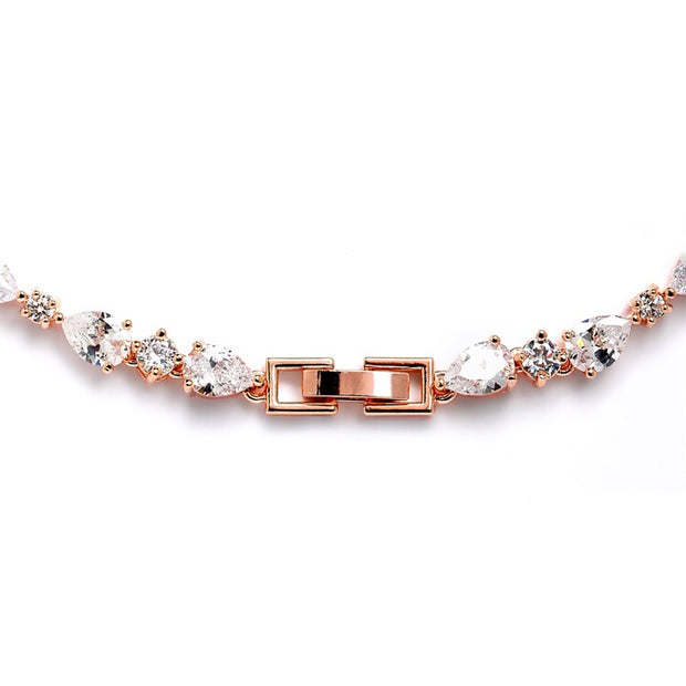 Ravishing Rose Gold Freshwater Pearl and CZ Statement Necklace and Earrings Set - Chicago Bridal Store Company
