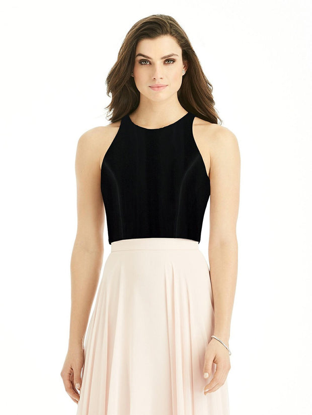 Formal Jewel Neckline Velvet Cropped Top - Chicago Bridal Store Company