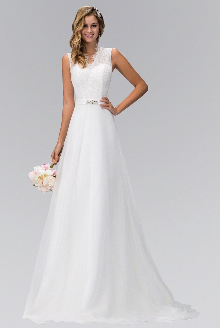 Illusion Back Sleeveless Wedding Gown 1416 - Chicago Bridal Store Company