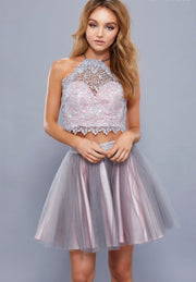 Gray & Pink Two Piece Halter Neckline Short Dress - Chicago Bridal Store Company