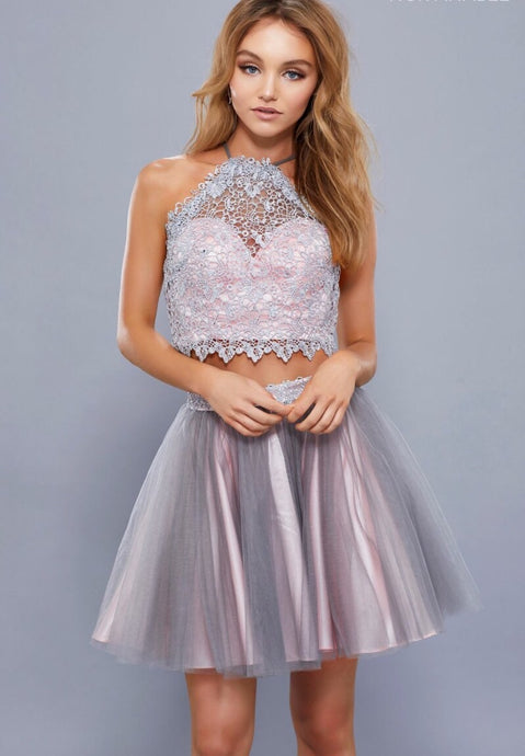 Gray & Pink Two Piece Halter Neckline Short Dress