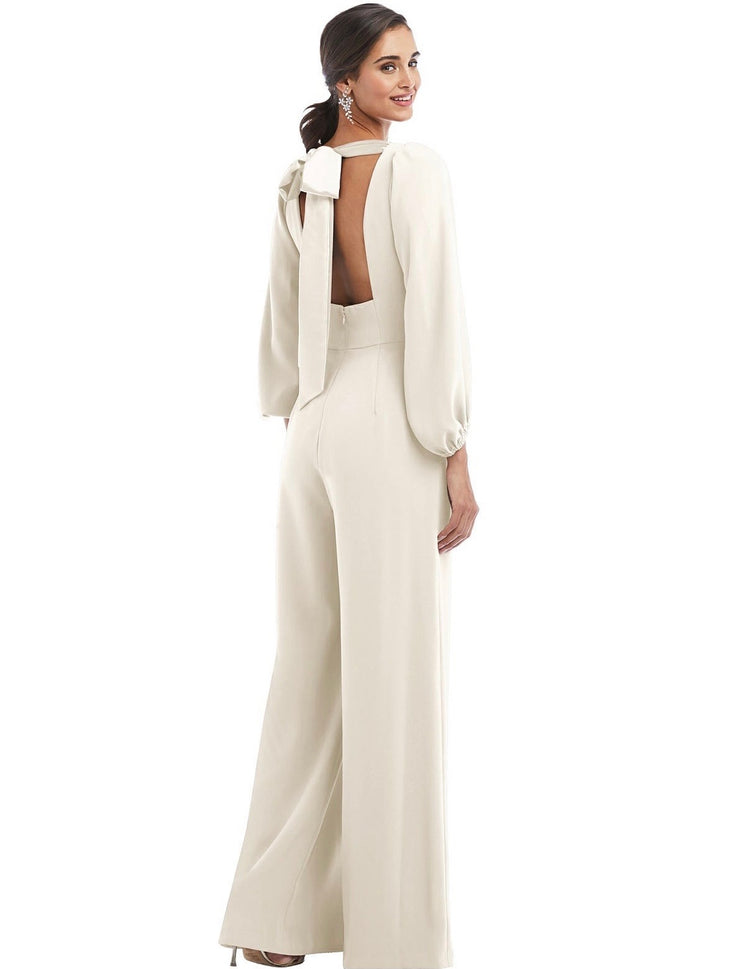 Bridal Jumpsuit with Bishop Sleeves & Tie Back