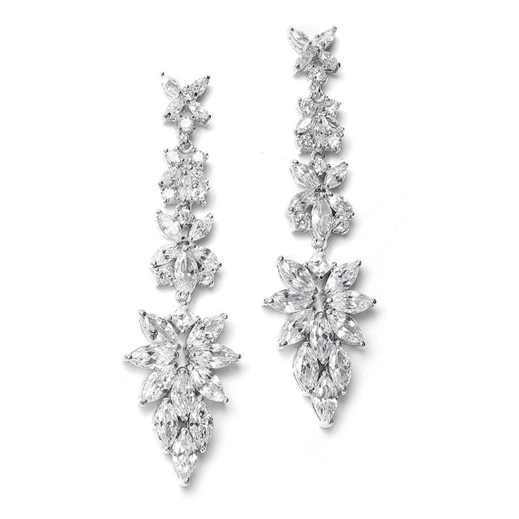 Bridal Earrings with Cubic Zirconia Marquis Cluster - Chicago Bridal Store Company