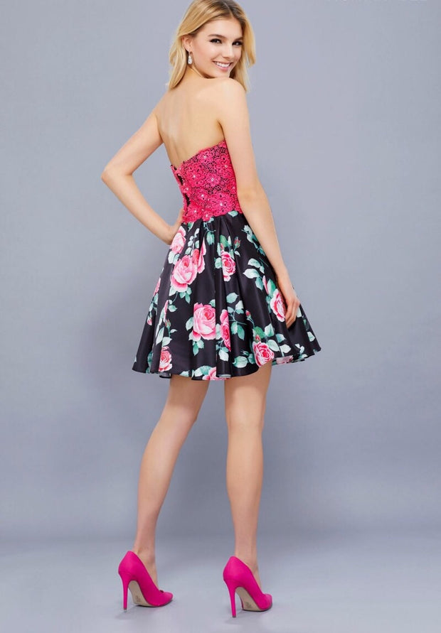 Fuchsia & Black Sweetheart Neckline Short Dress - Chicago Bridal Store Company