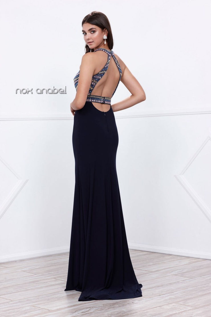 Navy Halter Open Back LongProm Dress - Chicago Bridal Store Company