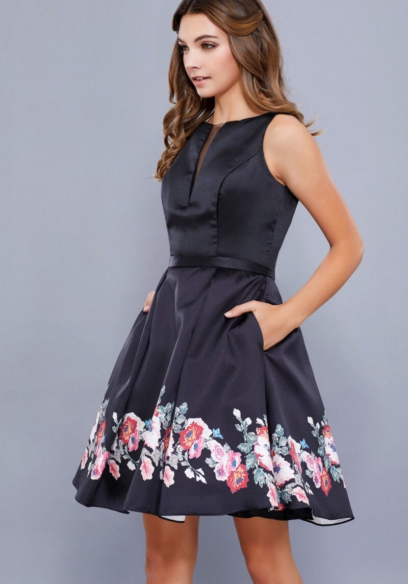 Black with Floral Print Enclosed Back Short Dress