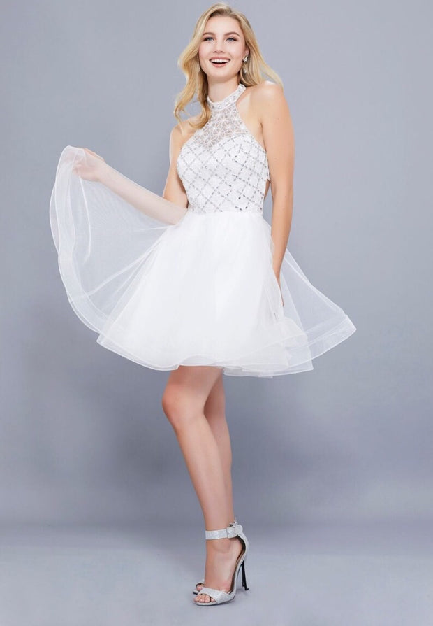 White Fit and Flare Short Dress - Chicago Bridal Store Company
