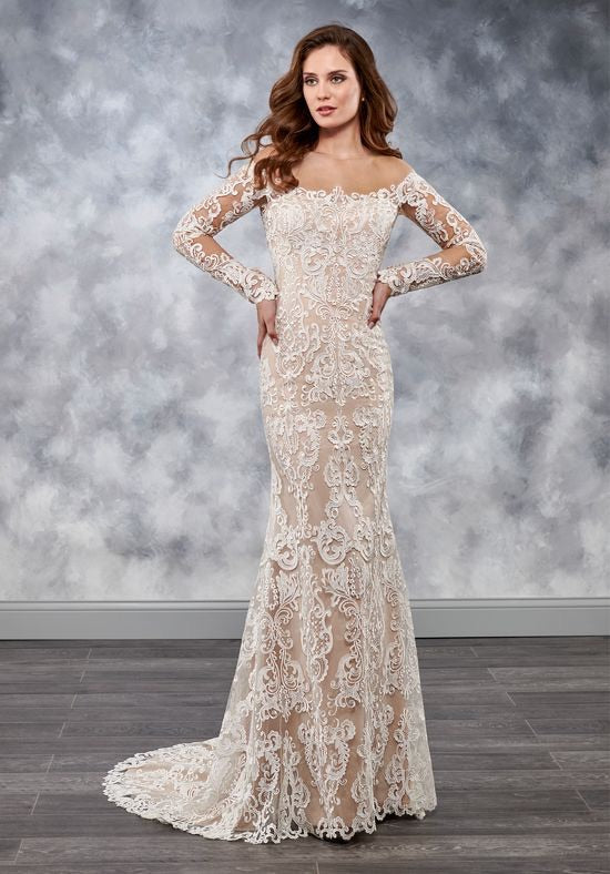 Illusion Off The Shoulder Bridal Gown - Chicago Bridal Store Company