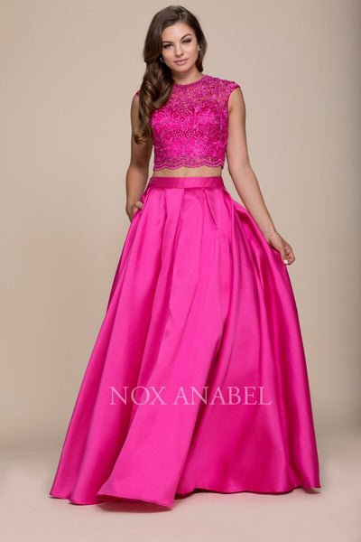2-Piece Fuchsia Lace Up Back Dress 2018 Prom - Chicago Bridal Store Company