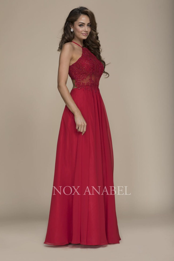 Red Halter Full Length Beaded Dress - Chicago Bridal Store Company
