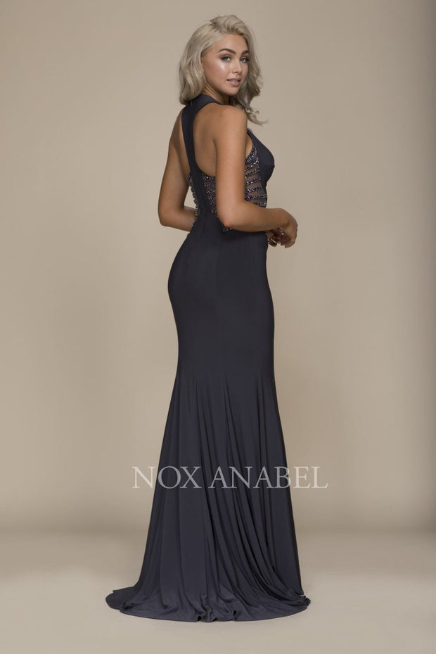 Steel Gray Long Illusion Dress - Chicago Bridal Store Company