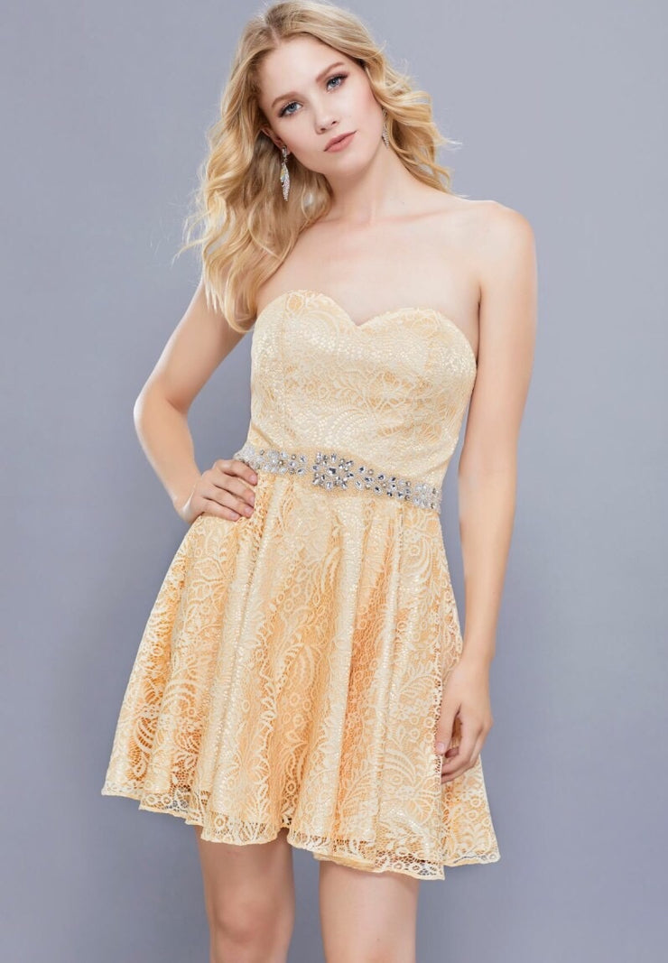Gold Strapless w/ Sweetheart Neckline Short Dress - Chicago Bridal Store Company