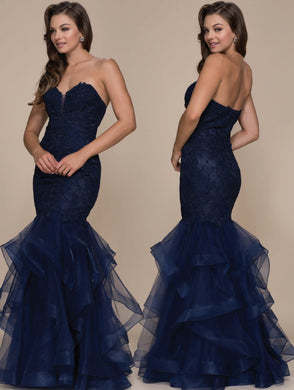 Navy Mermaid 2018 Long Formal Dress