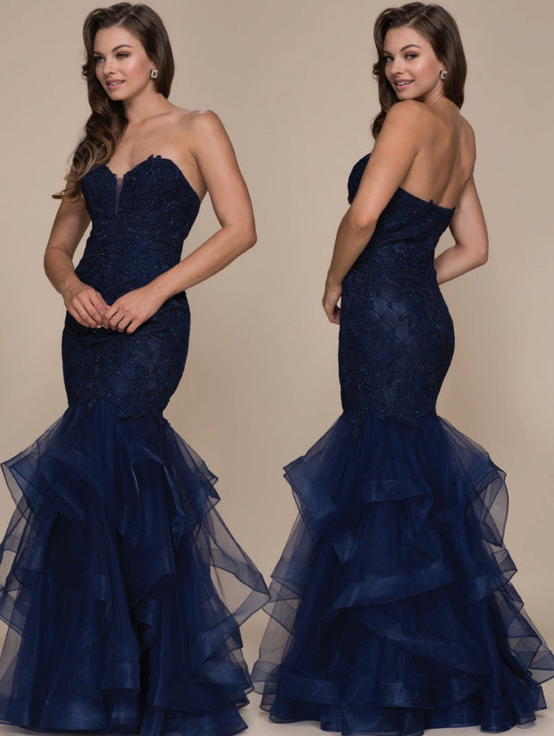 Navy Mermaid Long Formal Dress - Chicago Bridal Store Company