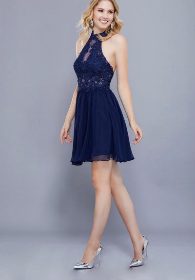 NAVY LACE HALTER CHIFFON DRESS - Chicago Bridal Store Company