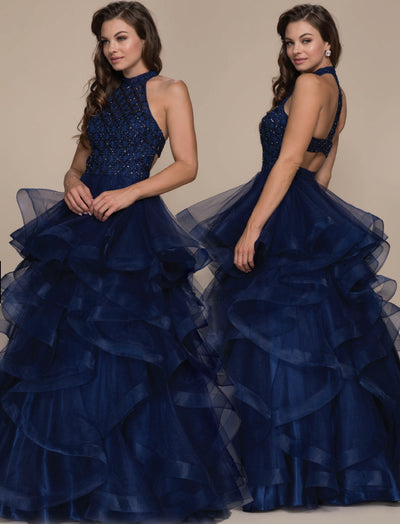Navy Tulle Layered Full Length Dress - Chicago Bridal Store Company