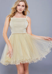 CHAMPAGNE SHORT SLEEVELESS DRESS WITH TULLE RUFFLED SKIRT - Chicago Bridal Store Company