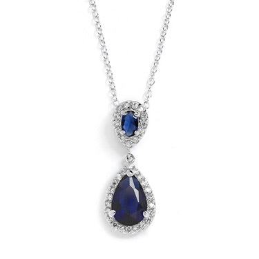 Sapphire Cubic Zirconia Teardrop Wedding Pendant - Chicago Bridal Store Company
