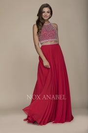 Red Two Piece Beaded Prom Dress - Chicago Bridal Store Company
