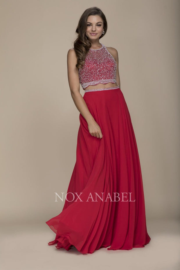 Red Two Piece Beaded 2018 Prom Dress - Chicago Bridal Store Company