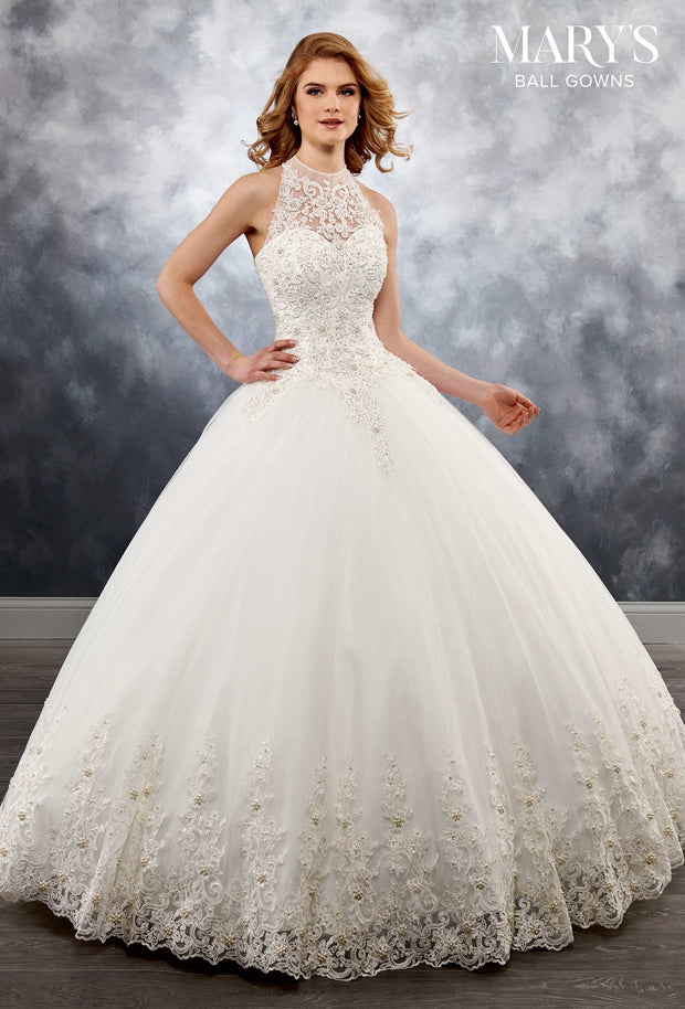 Tulle Halter Ball Gown Wedding Dress  MB6026 - Chicago Bridal Store Company