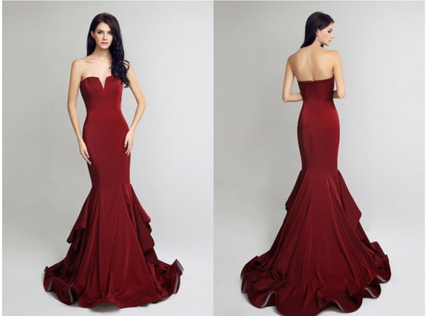 Burgundy Red Carpet Formal Gown - Chicago Bridal Store Company