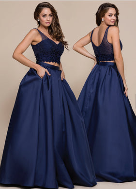 Navy Beaded 2-Piece Formal Dress