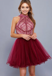 BurgundyTwo Piece Dress with Tulle Skirt and Beaded Top - Chicago Bridal Store Company