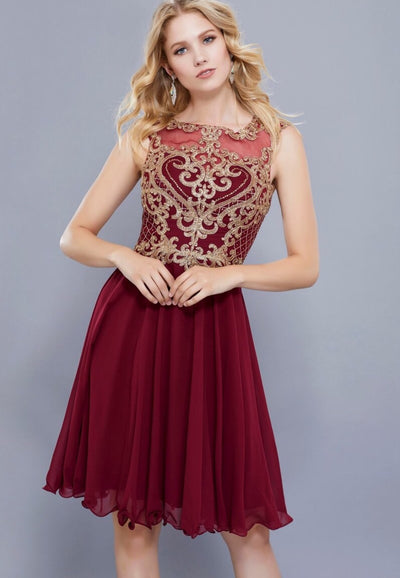 Burgundy Short Chiffon Dress with Gold Bodice - Chicago Bridal Store Company