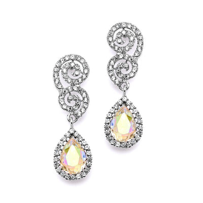 Crystal Scroll Wedding or Prom Earrings with AB Teardrop - Chicago Bridal Store Company