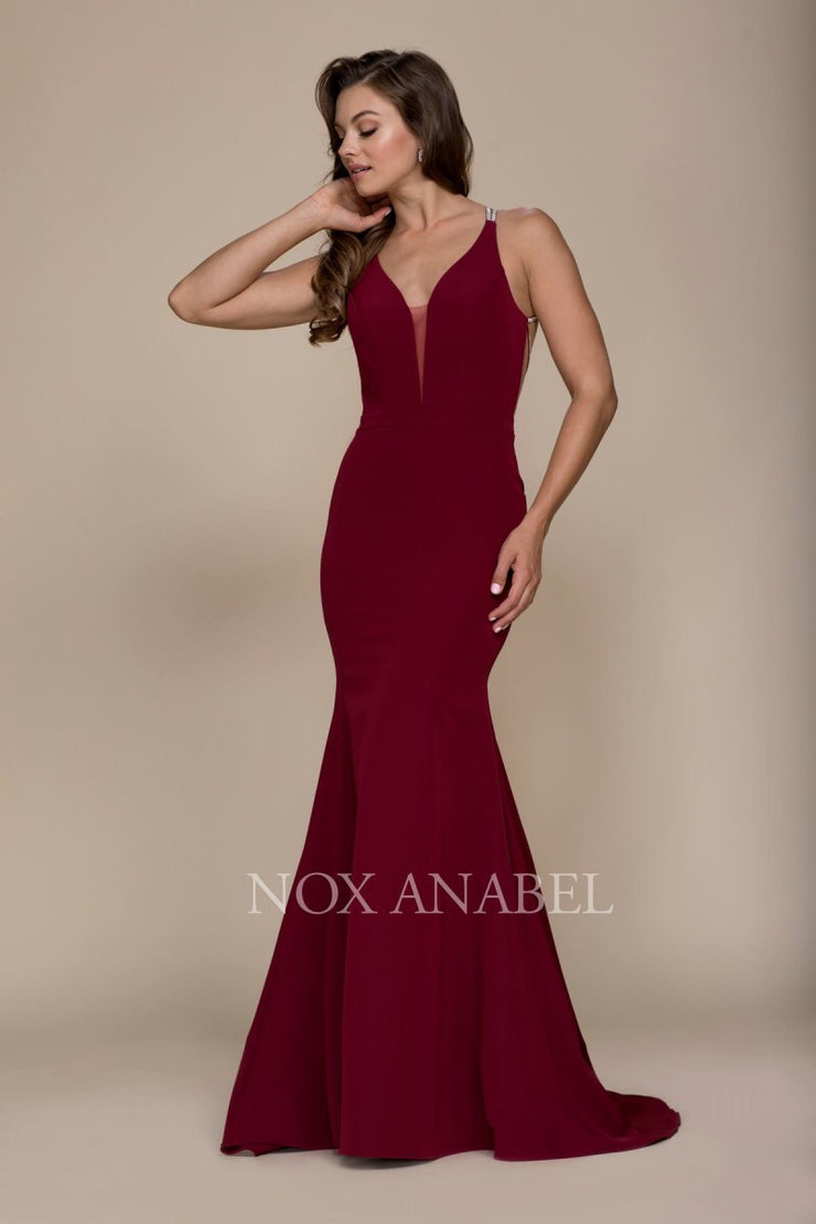 Burgundy V-Neck Open Back Long Dress Prom Collection - Chicago Bridal Store Company