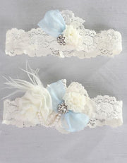 Something Blue Vintage Lace Garter Set- White or Ivory Chicagobridalstore.com - Chicago Bridal Store Company