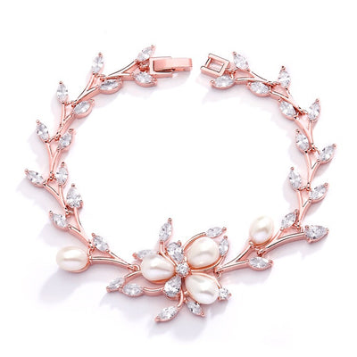 Rose Gold and Freshwater Pearls in CZ Leaves Bracelet 3041B-RG - Chicago Bridal Store Company