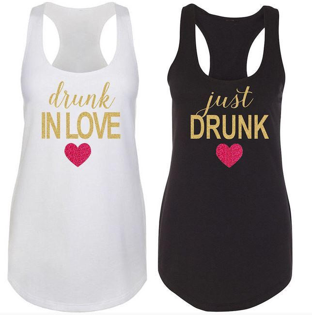 Glitter Print Drunk in Love and Just Drunk Racerback Tank Top