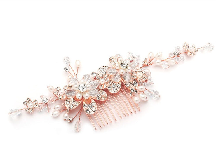 Fabulous Rose Gold Wedding or Brides Hair Comb with Pearl and Crystal Sprays 4071HC-RG