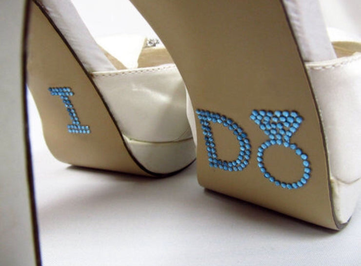 Something Blue I Do Bling Ring Shoe Sticker - Chicago Bridal Store Company