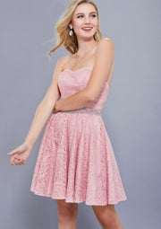 Rose Pink Strapless w/ Sweetheart Neckline Short Dress - Chicago Bridal Store Company
