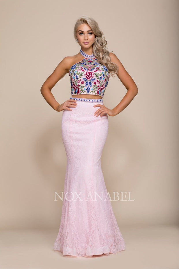 Pink 2-Piece Halter Dress with Floral Bodice - Chicago Bridal Store Company