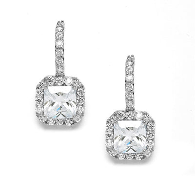 Radiant Cut Cubic Zirconia Drop Bridal or Bridesmaids Earrings - Chicago Bridal Store Company