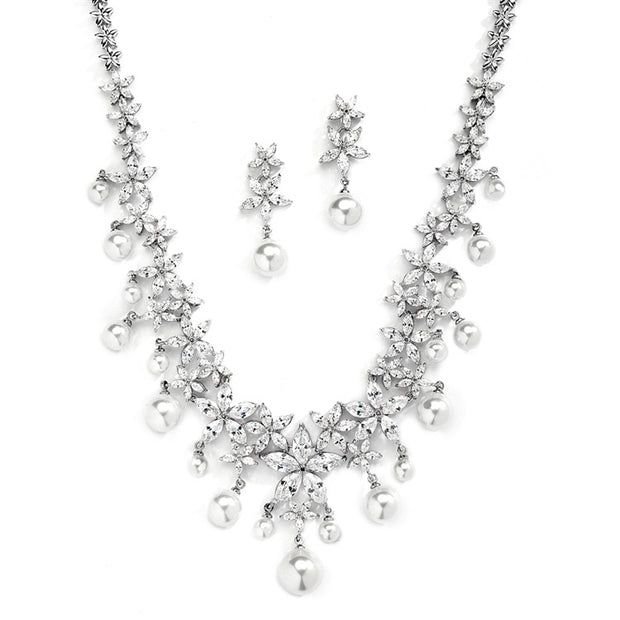 Glamorous White Pearl and CZ Bridal Statement Necklace Set - Chicago Bridal Store Company