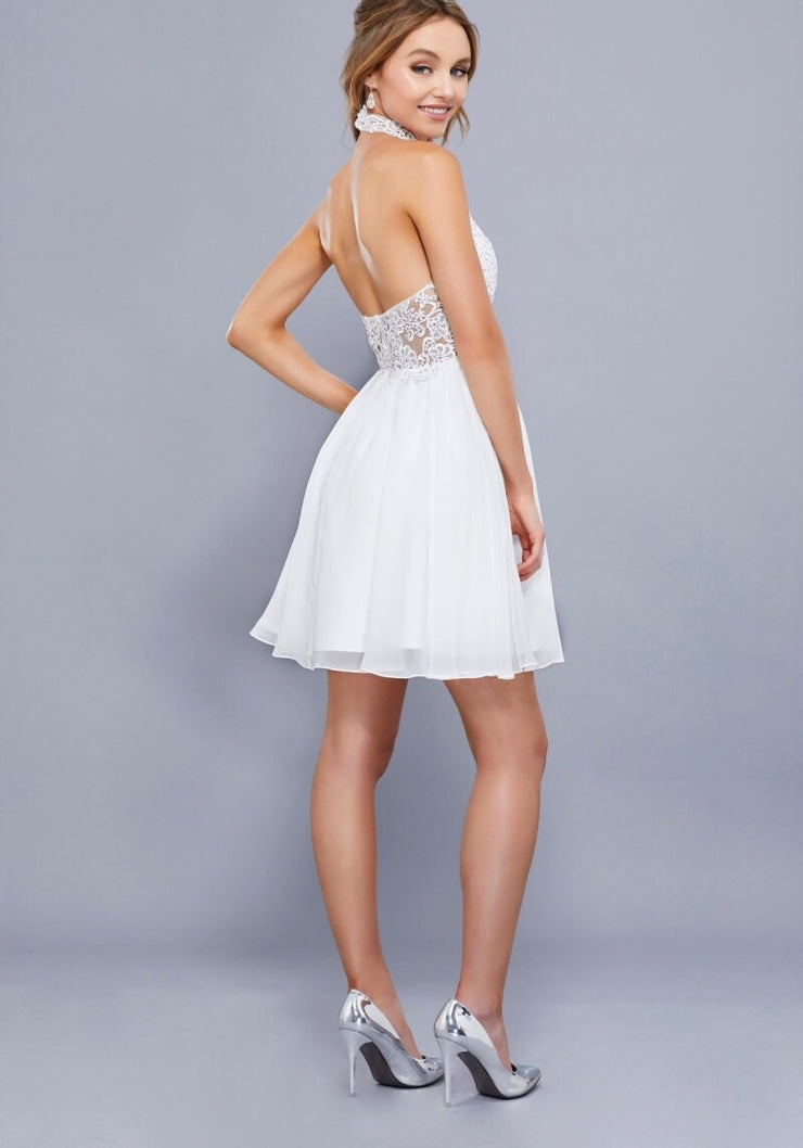 WHITE LACE HALTER CHIFFON DRESS - Chicago Bridal Store Company