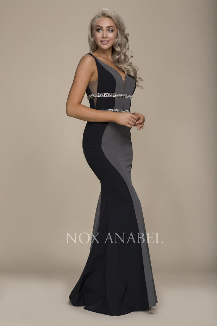 Black V-Neck Beaded Long Dress 2018 Prom Collection