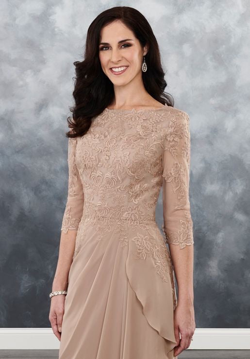 A Line Lace Sleeved Chiffon Mother's of Bride/Groom - Chicago Bridal Store Company