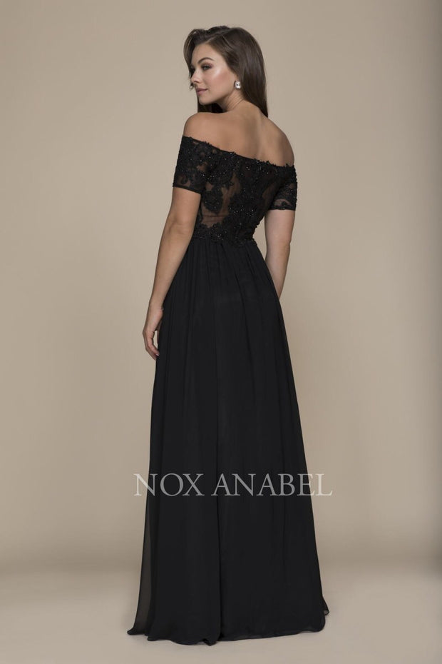 Black Off Shoulder Formal Dress - Chicago Bridal Store Company