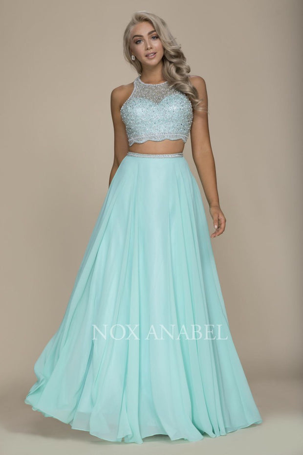 Mint Green Two Piece Beaded Prom Dress - Chicago Bridal Store Company