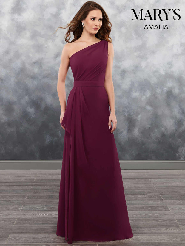 Burgundy One Shoulder Chiffon Gown - Chicago Bridal Store Company