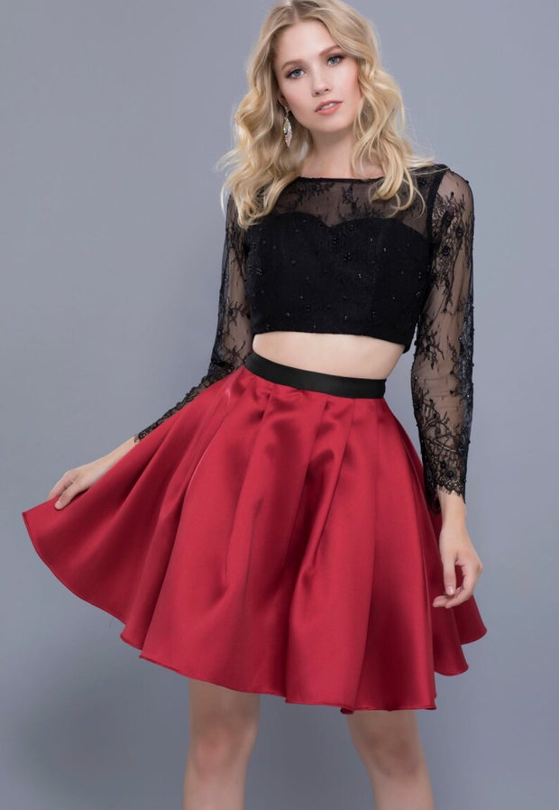 BURGUNDY & BLACK TWO PIECE DRESS WITH GLAM LACE TOP - Chicago Bridal Store Company