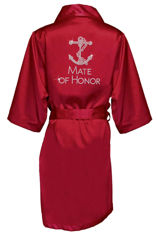 Rhinestone Bridal Party Robes with Large Anchor Design - Chicago Bridal Store Company