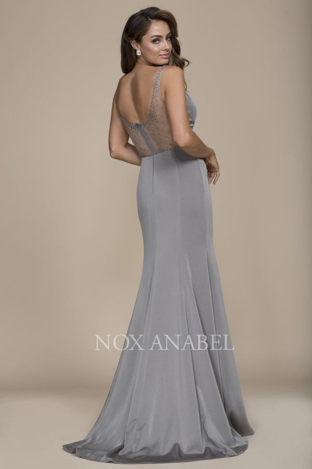 2018 Gray Long evening prom dress - Chicago Bridal Store Company